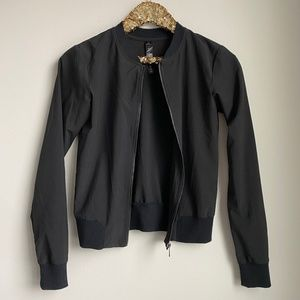 90 Degree Black Woven Bomber Jacket